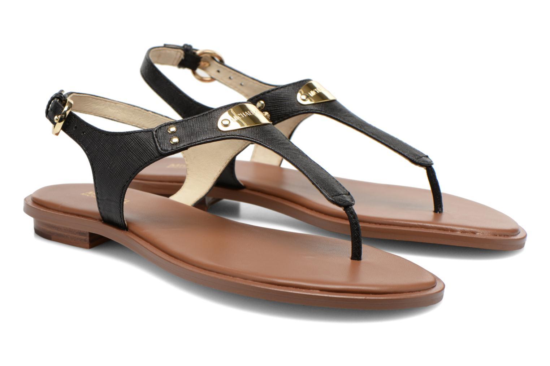 Sandals Michael Michael Kors MK Plate Thong Black 3/4 view