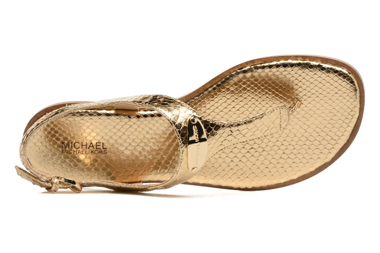 Sandales et nu-pieds Michael Michael Kors MK Plate Thong Or et bronze vue gauche