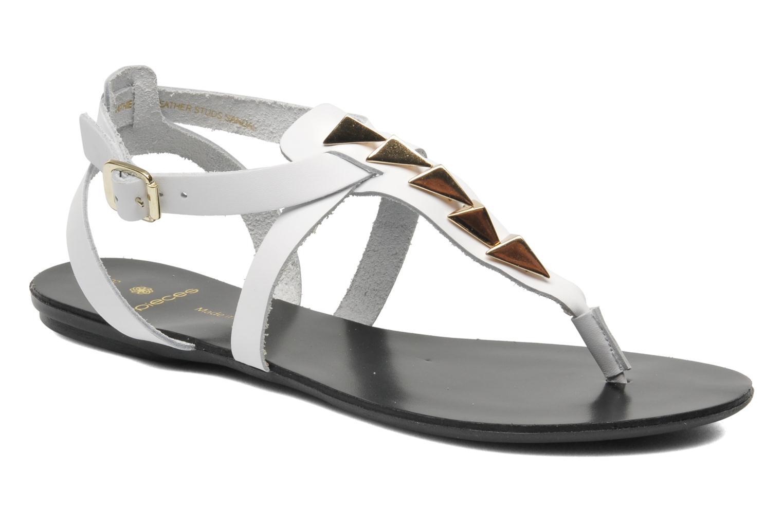 Sandales et nu-pieds Pieces Cathie leather studs Blanc vue détail/paire