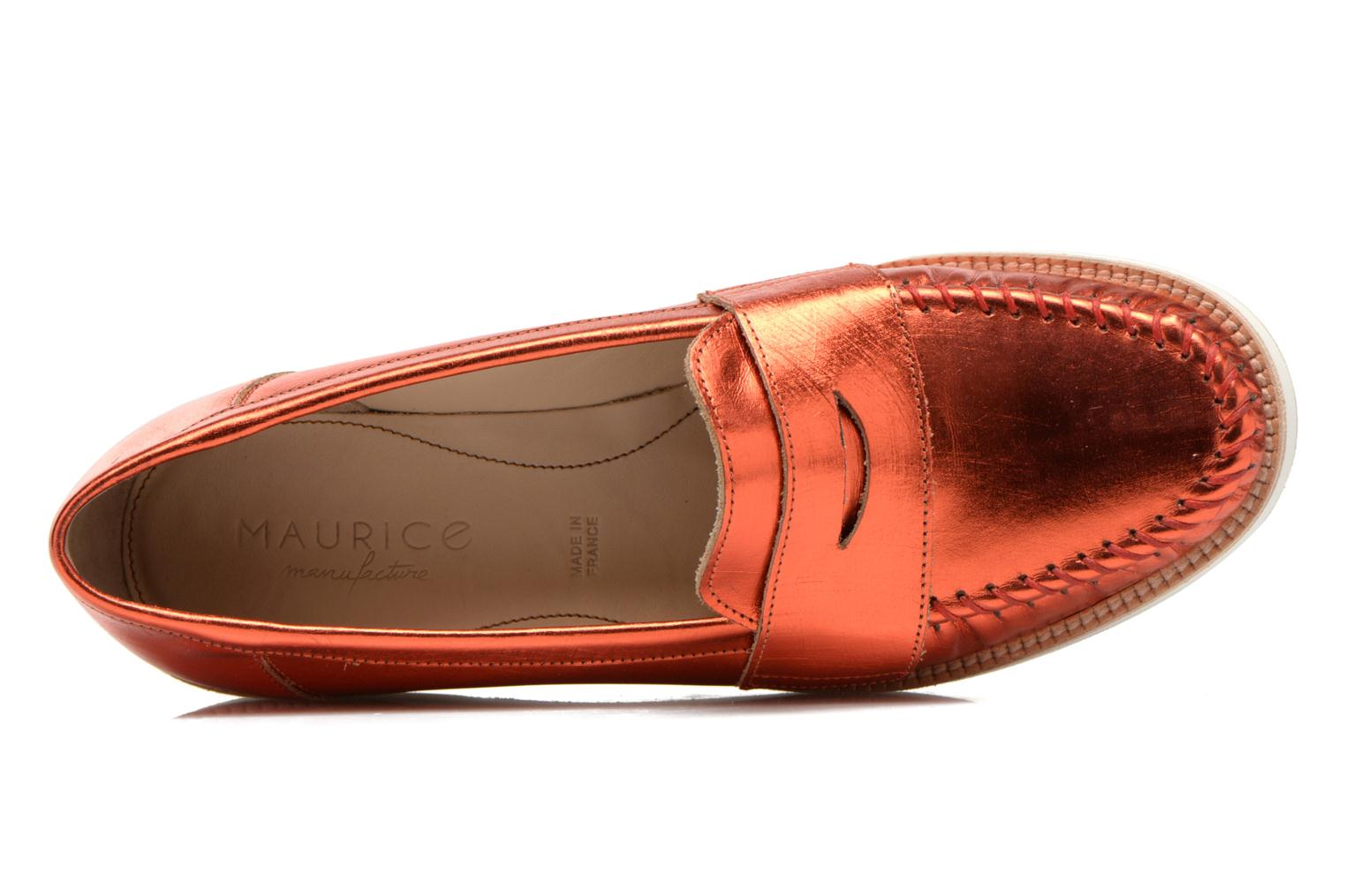 Mocassins MAURICE manufacture Basso Orange vue gauche