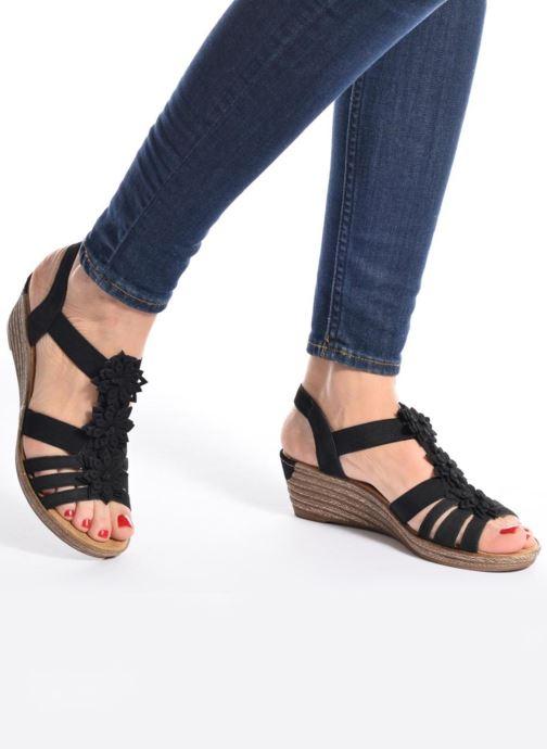 Sandales et nu-pieds Rieker Deena Noir vue bas / vue portée sac