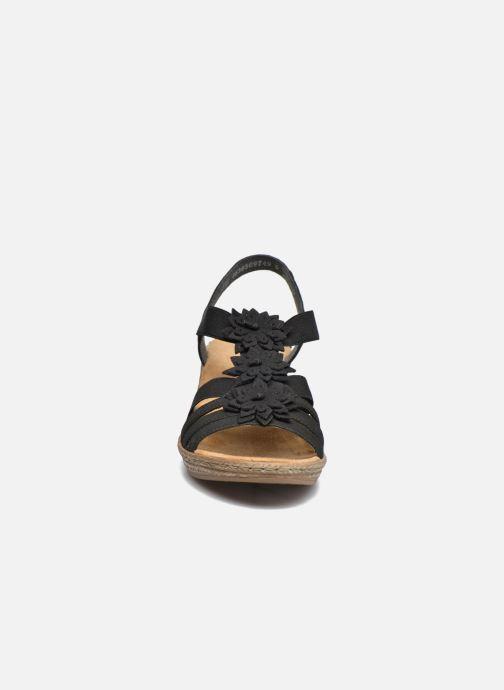Sandales et nu-pieds Rieker Deena Noir vue portées chaussures