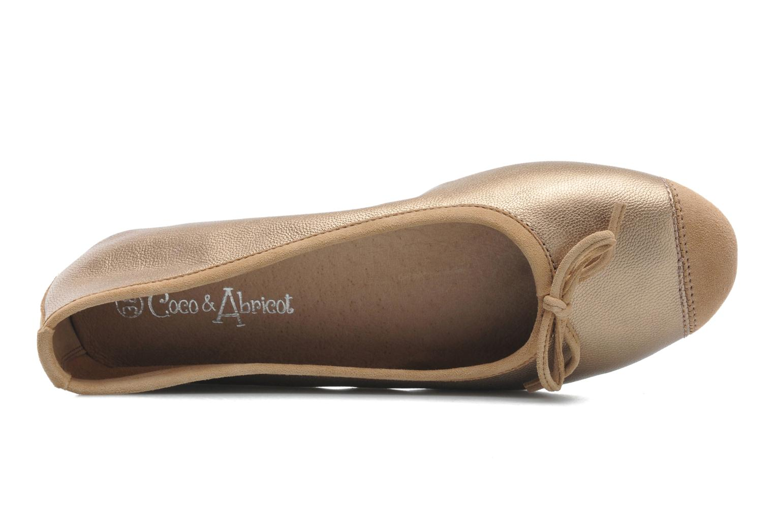 Ballet pumps Coco et abricot Belline Bronze and Gold view from the left