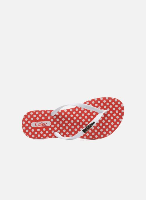 Flip flops Coca-cola shoes Dots Red view from the left