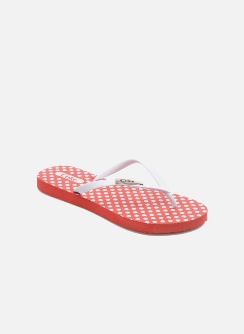Flip flops Coca-cola shoes Dots Red detailed view/ Pair view