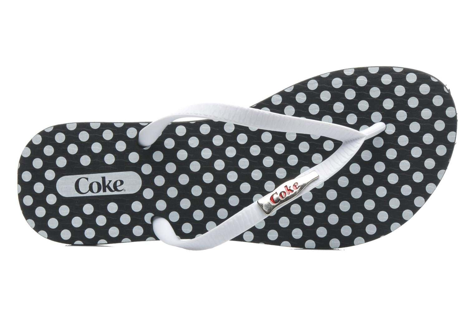 Tongs Coca-cola shoes Dots Blanc vue gauche