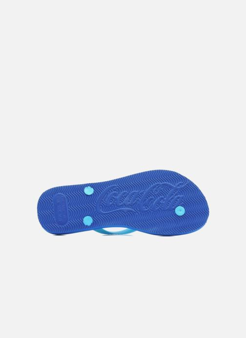 Flip flops Coca-cola shoes Water Girls Blue view from above