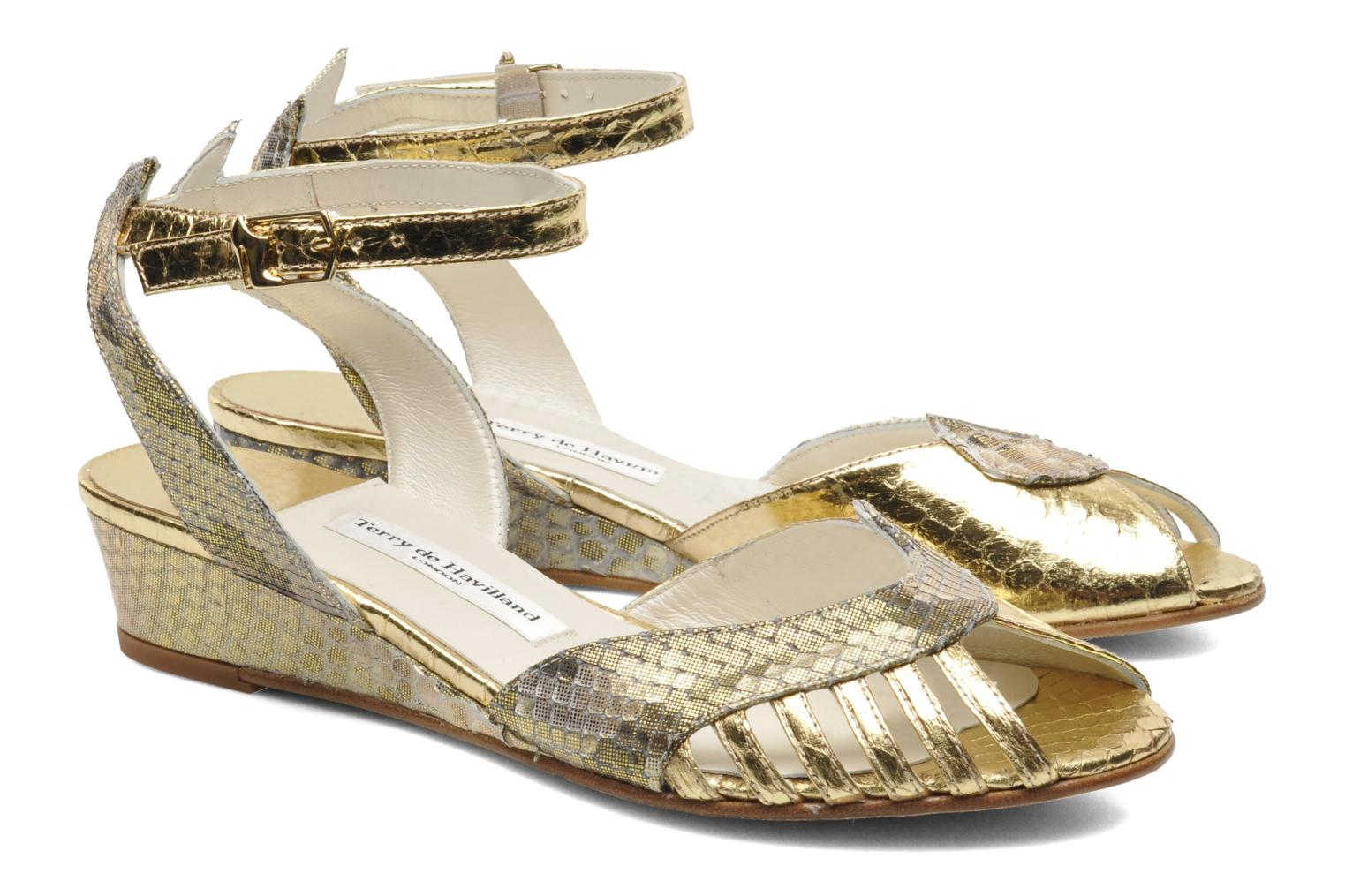 Sandals Terry de Havilland Mini Margaux Bronze and Gold 3/4 view