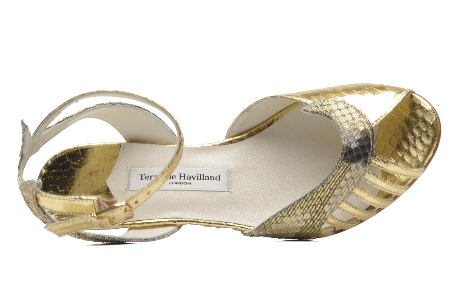 Sandals Terry de Havilland Mini Margaux Bronze and Gold view from the left