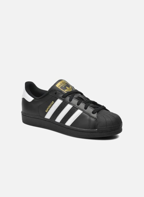 Deportivas adidas originals Superstar Foundation J Negro vista de detalle / par