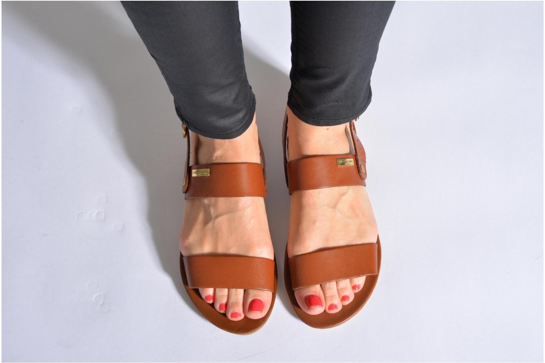 Sandales et nu-pieds Les Tropéziennes par M Belarbi Biniou Marron vue bas / vue portée sac