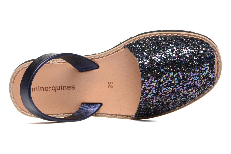 Sandalias MINORQUINES Avarca Azul vista lateral izquierda