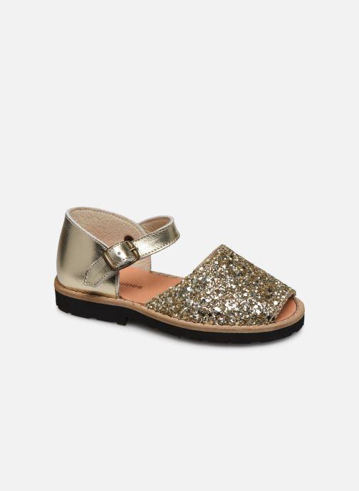 Sandaler Minorquines Frailera Guld og bronze detaljeret billede af skoene