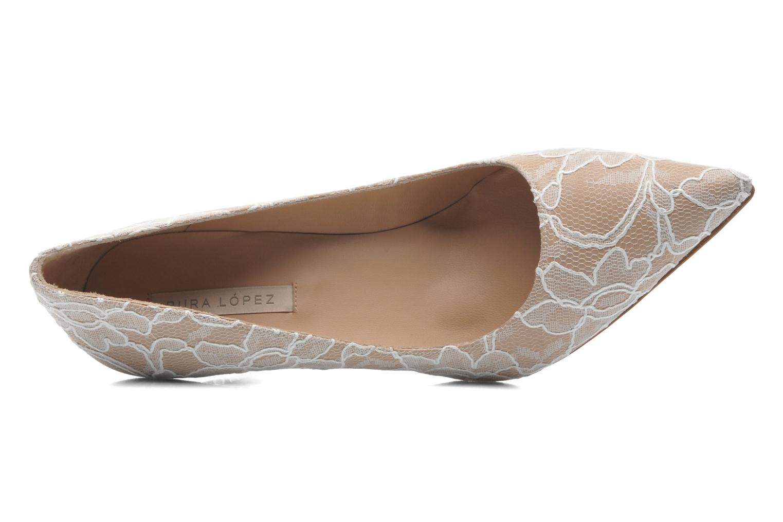 Zapatos de tacón Pura Lopez Escarpin mariée Beige vista lateral izquierda