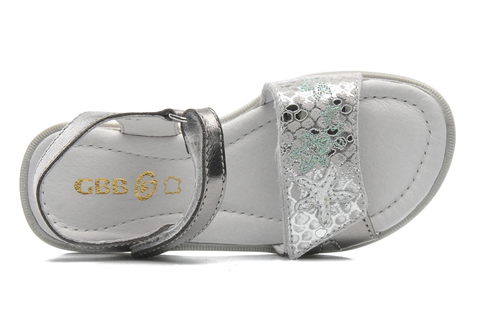 Sandals GBB IRAIS Silver view from the left