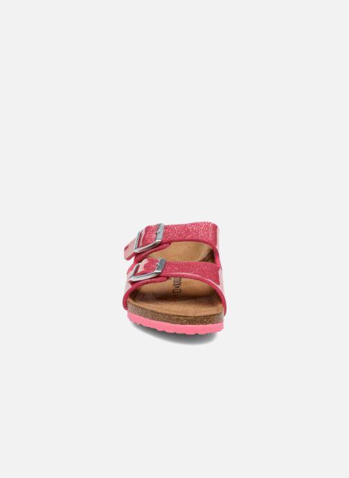 Sandales et nu-pieds Birkenstock Arizona Birko-Flor Rose vue portées chaussures