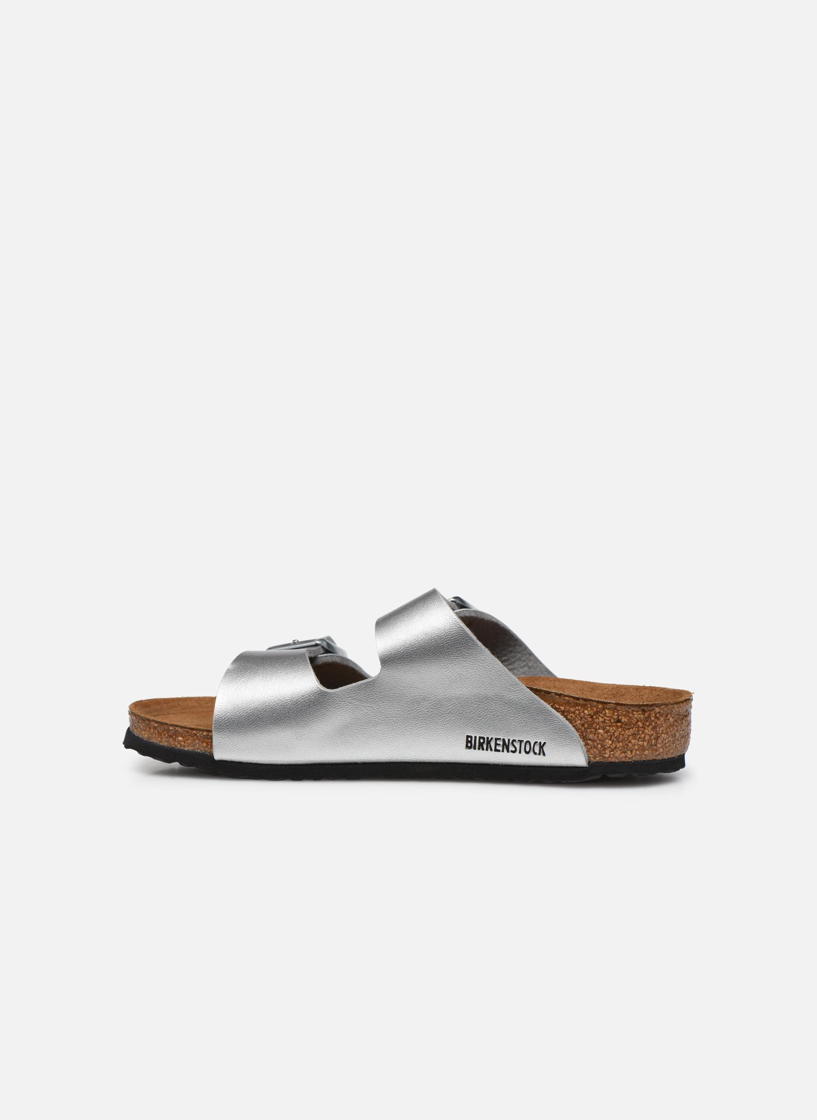Sandales et nu-pieds Birkenstock Arizona Birko-Flor Argent vue face