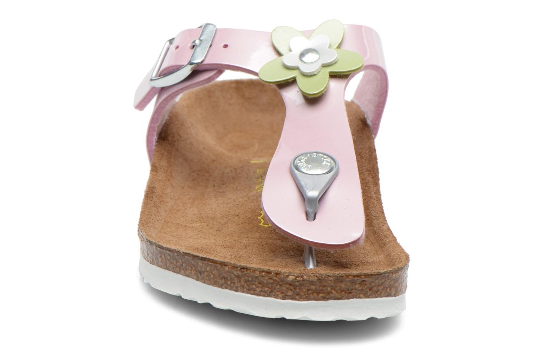 Tongs Birkenstock GIZEH FLOWER Rose vue portées chaussures