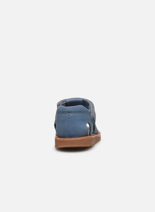 Sandalias Pom d Api Waff Papy Azul vista lateral derecha