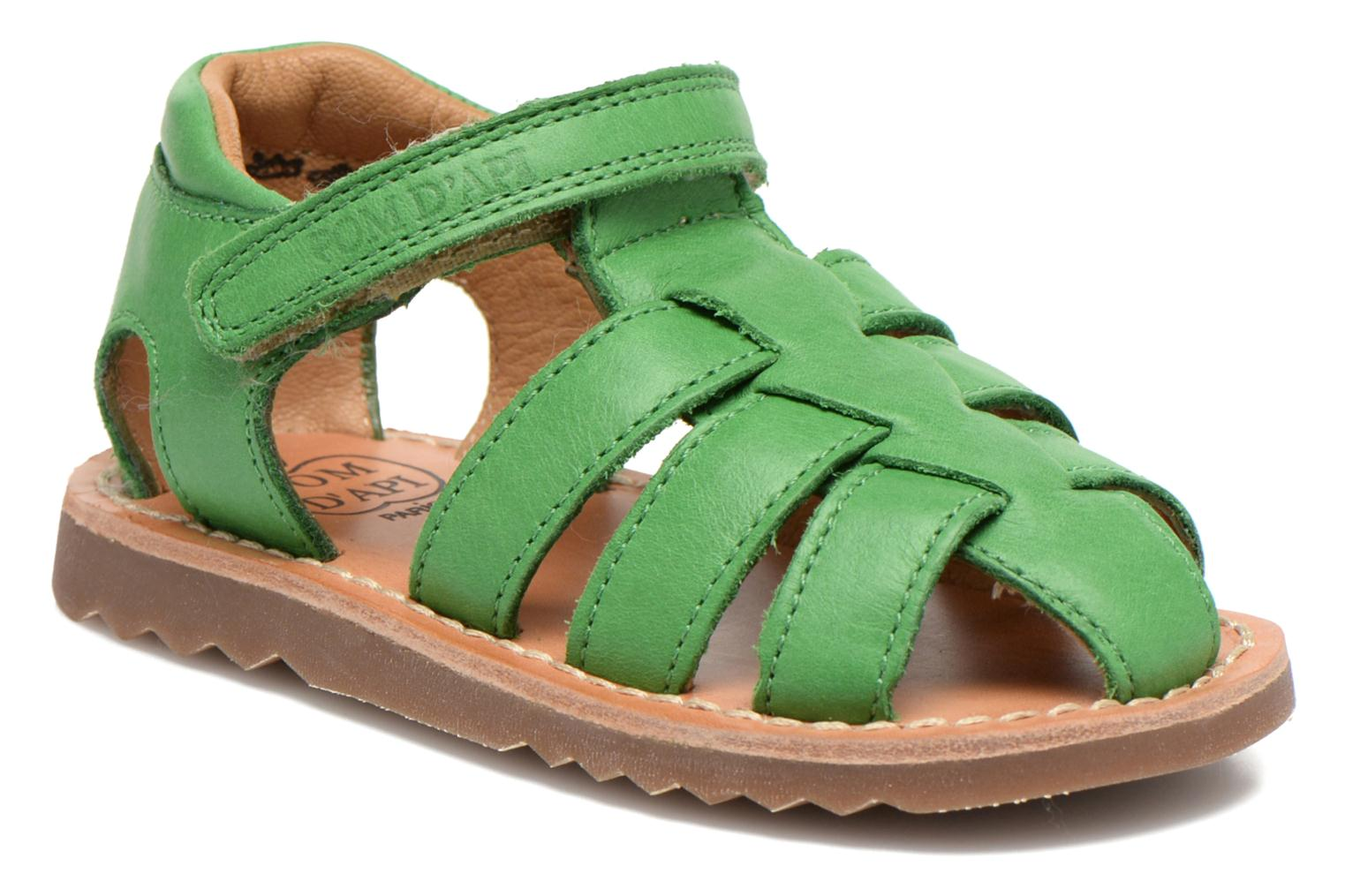 Sandals Pom d Api Waff Papy Green detailed view/ Pair view