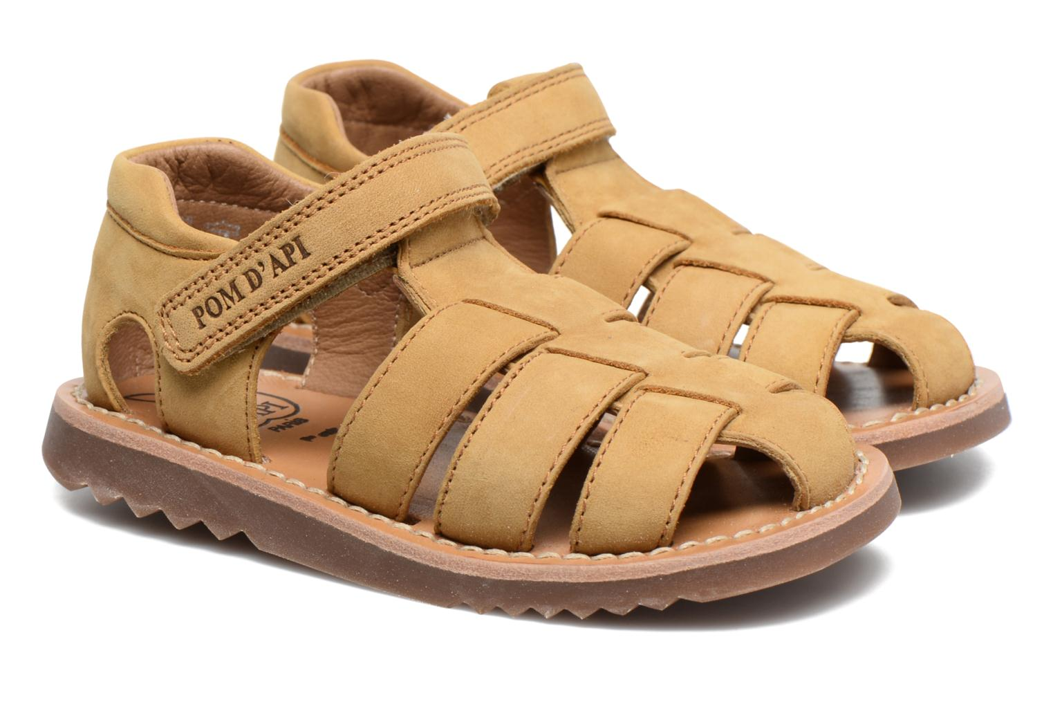 Sandals Pom d Api Waff Papy Yellow 3/4 view