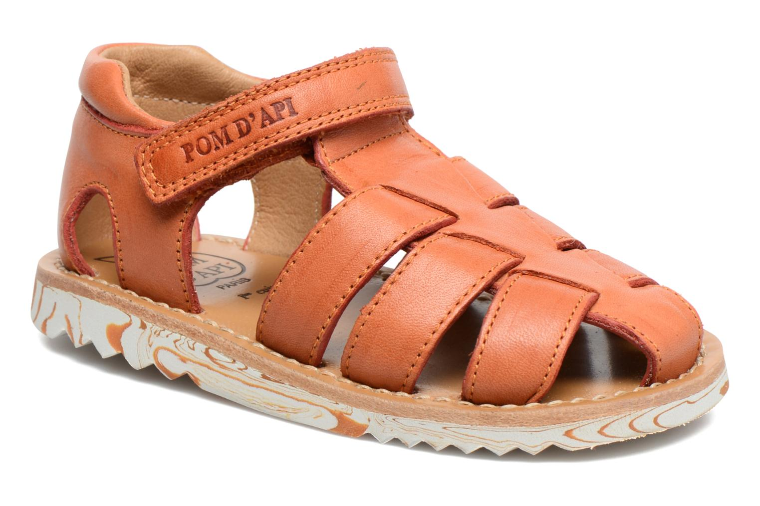 Sandals Pom d Api Waff Papy Orange detailed view/ Pair view