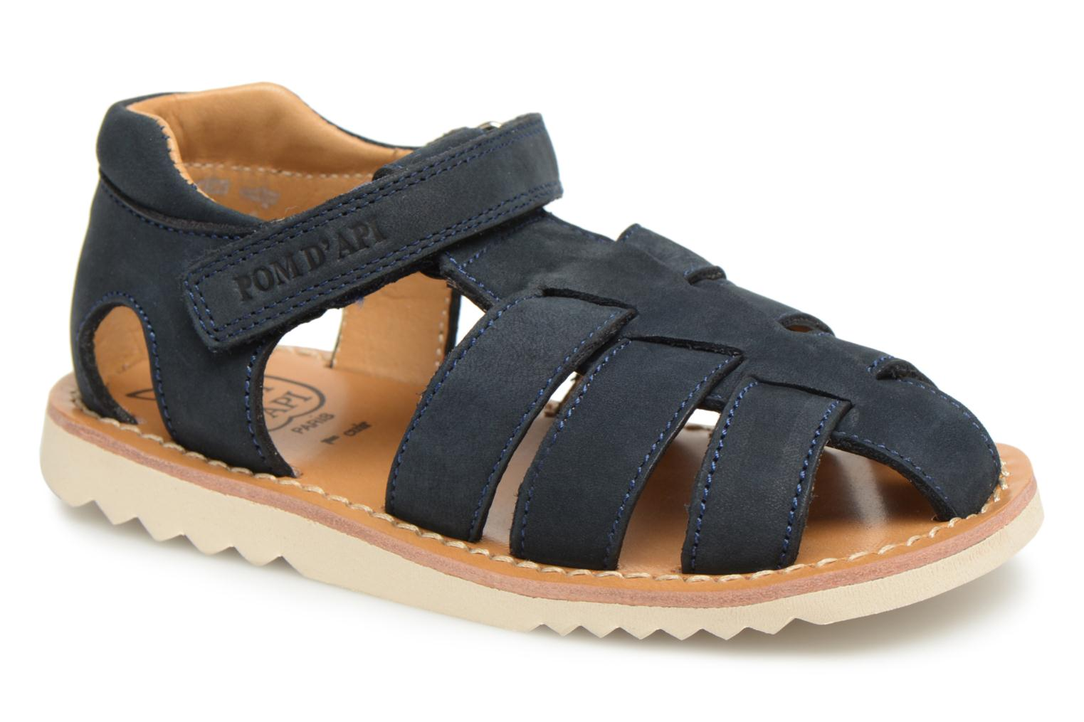 Sandals Pom d Api Waff Papy Blue detailed view/ Pair view