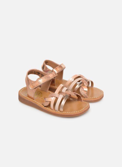 Sandales et nu-pieds Pom d Api YAPO TRESSE Rose vue 3/4