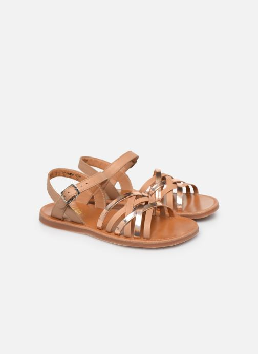 Sandales et nu-pieds Pom d Api PLAGETTE LUX Or et bronze vue 3/4