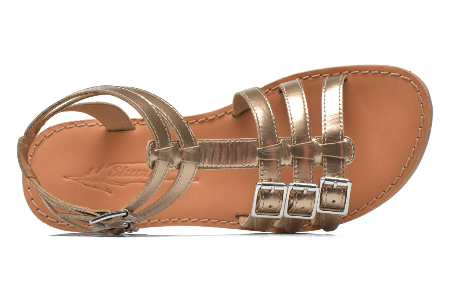 Sandals Shwik LAZAR BUCKLES Bronze and Gold view from the left