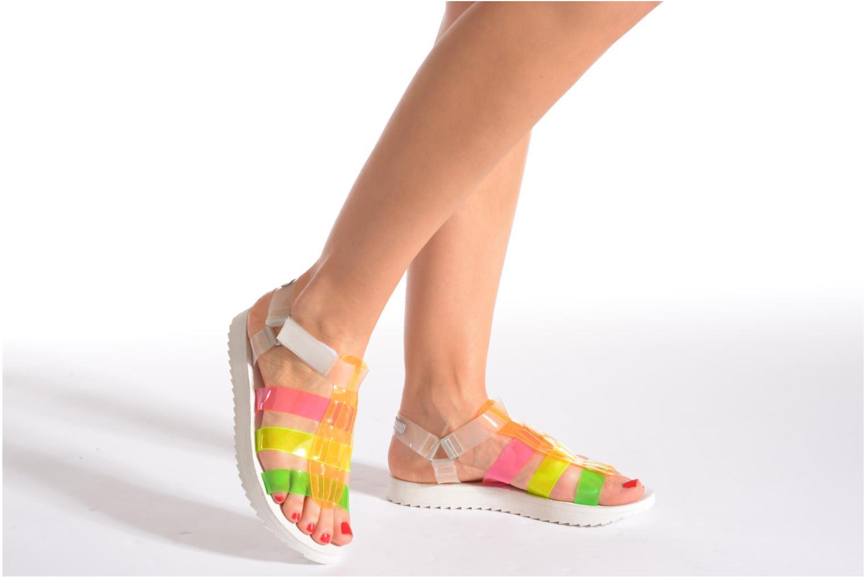 Sandales et nu-pieds Eleven paris Duse F Noir vue bas / vue portée sac