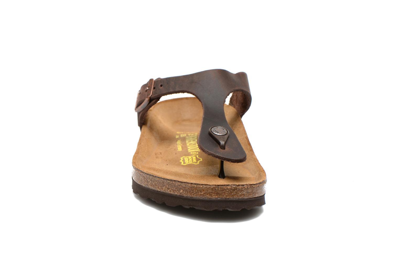 Clogs og træsko Birkenstock Gizeh Cuir W Brun se skoene på