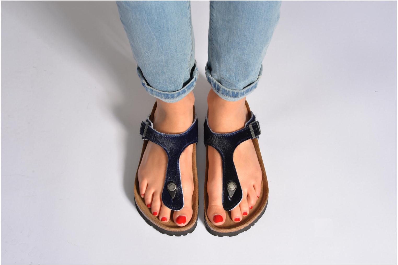 Flip flops Birkenstock Gizeh Textile Pony W Blue view from underneath / model view