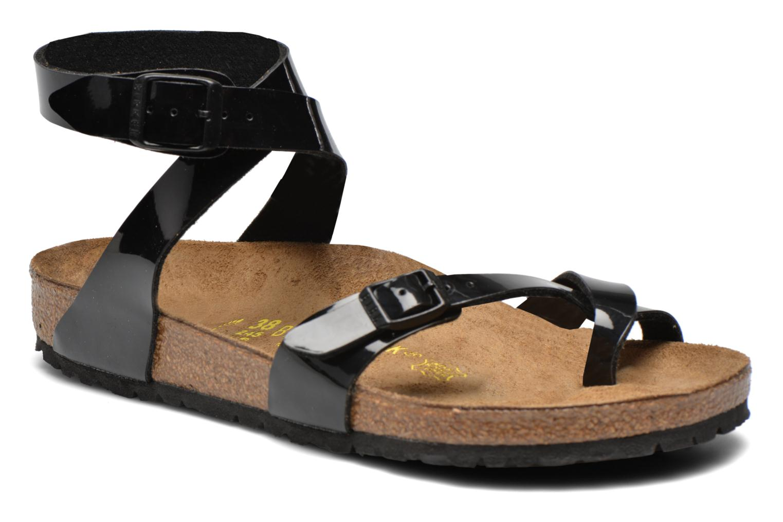 Sandals Birkenstock Yara Flor W Black detailed view/ Pair view