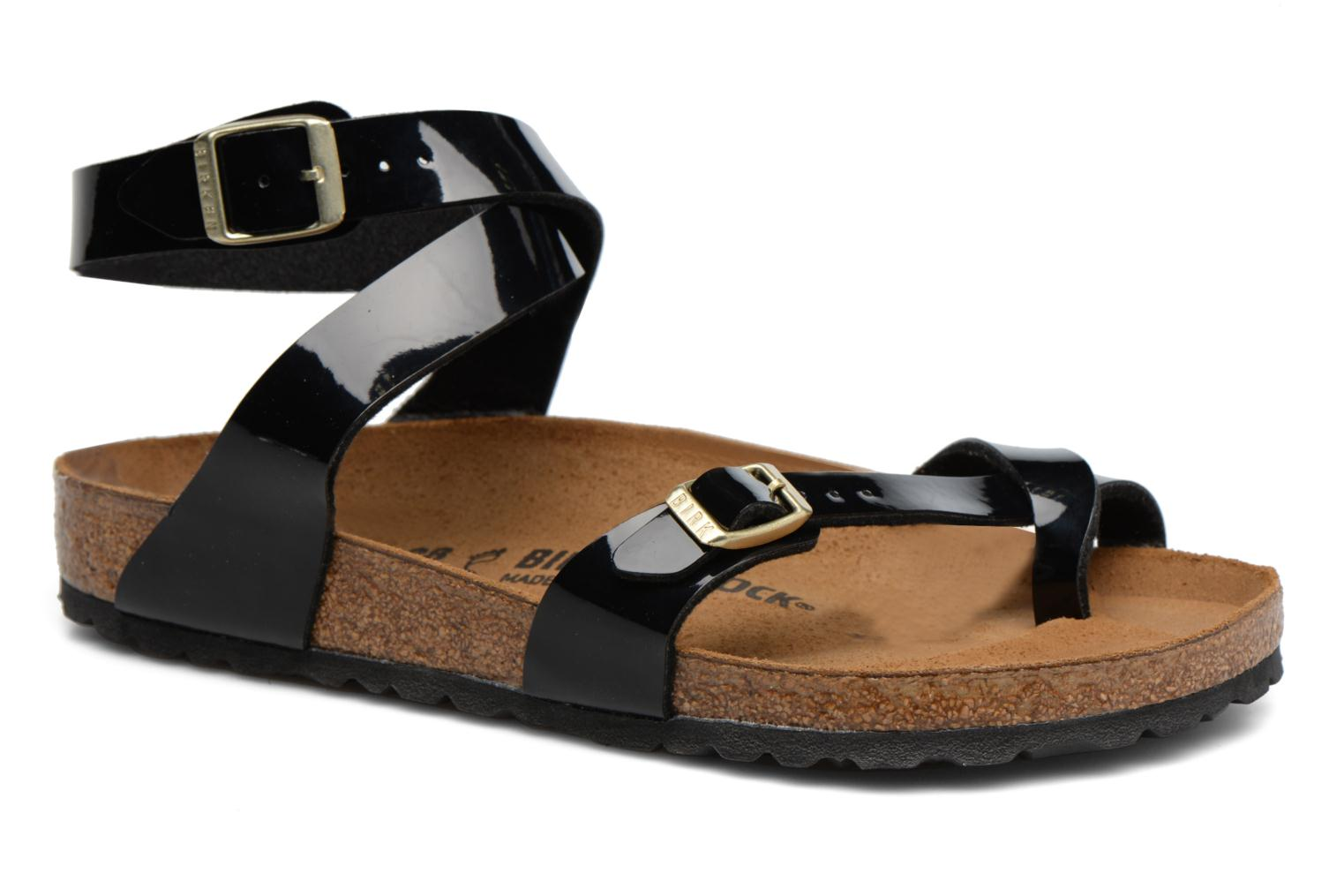 Sandals Birkenstock Yara Flor W Black detailed view/ Pair view