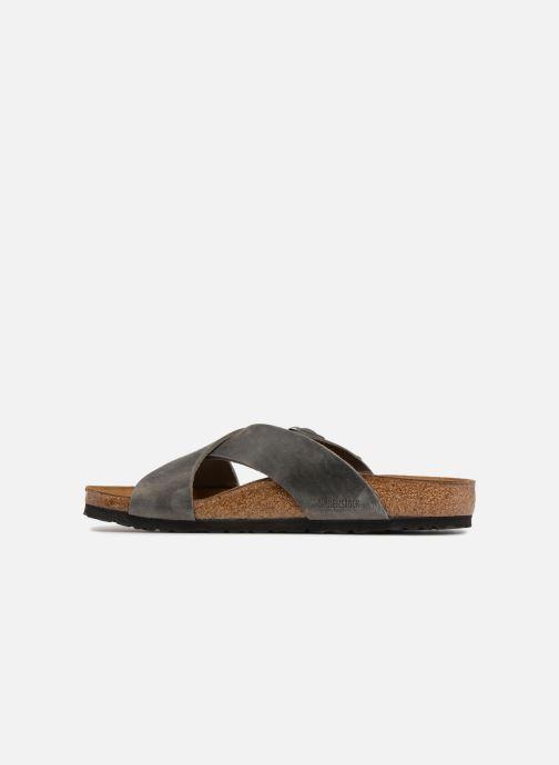 Sandales et nu-pieds Birkenstock Tunis Cuir M Gris vue face
