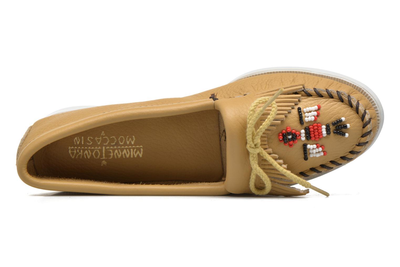 Mocassins Minnetonka Original Thunderbird Beige vue gauche
