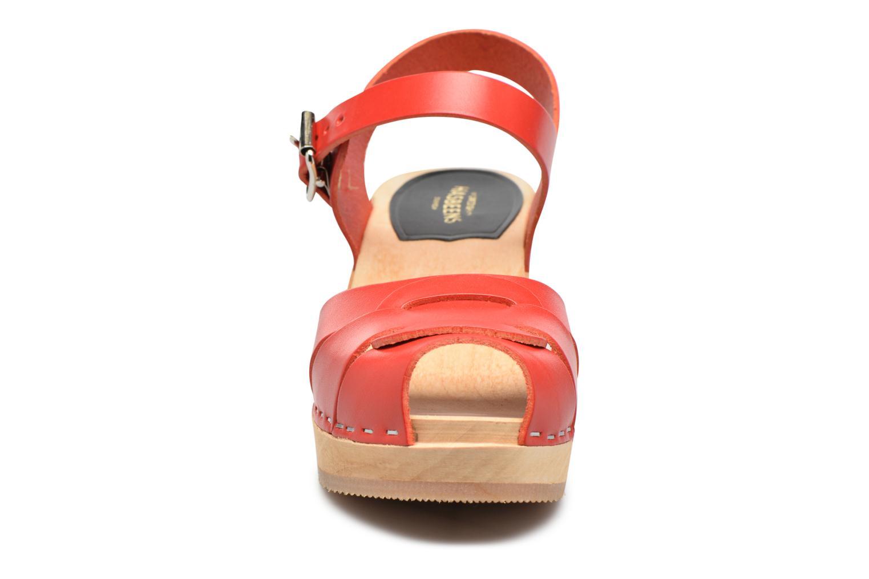 Sandales et nu-pieds Swedish Hasbeens Peep Toe High Rouge vue portées chaussures