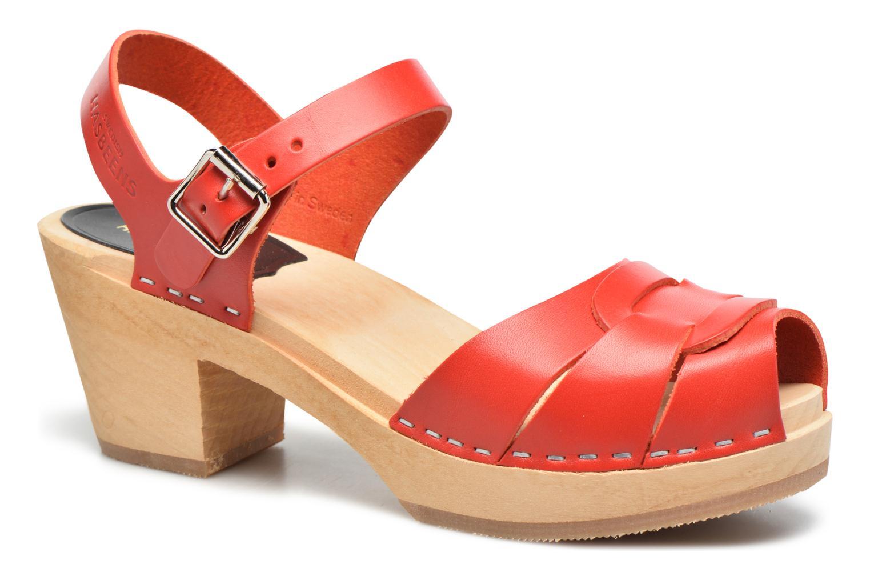 Sandales et nu-pieds Swedish Hasbeens Peep Toe High Rouge vue détail/paire