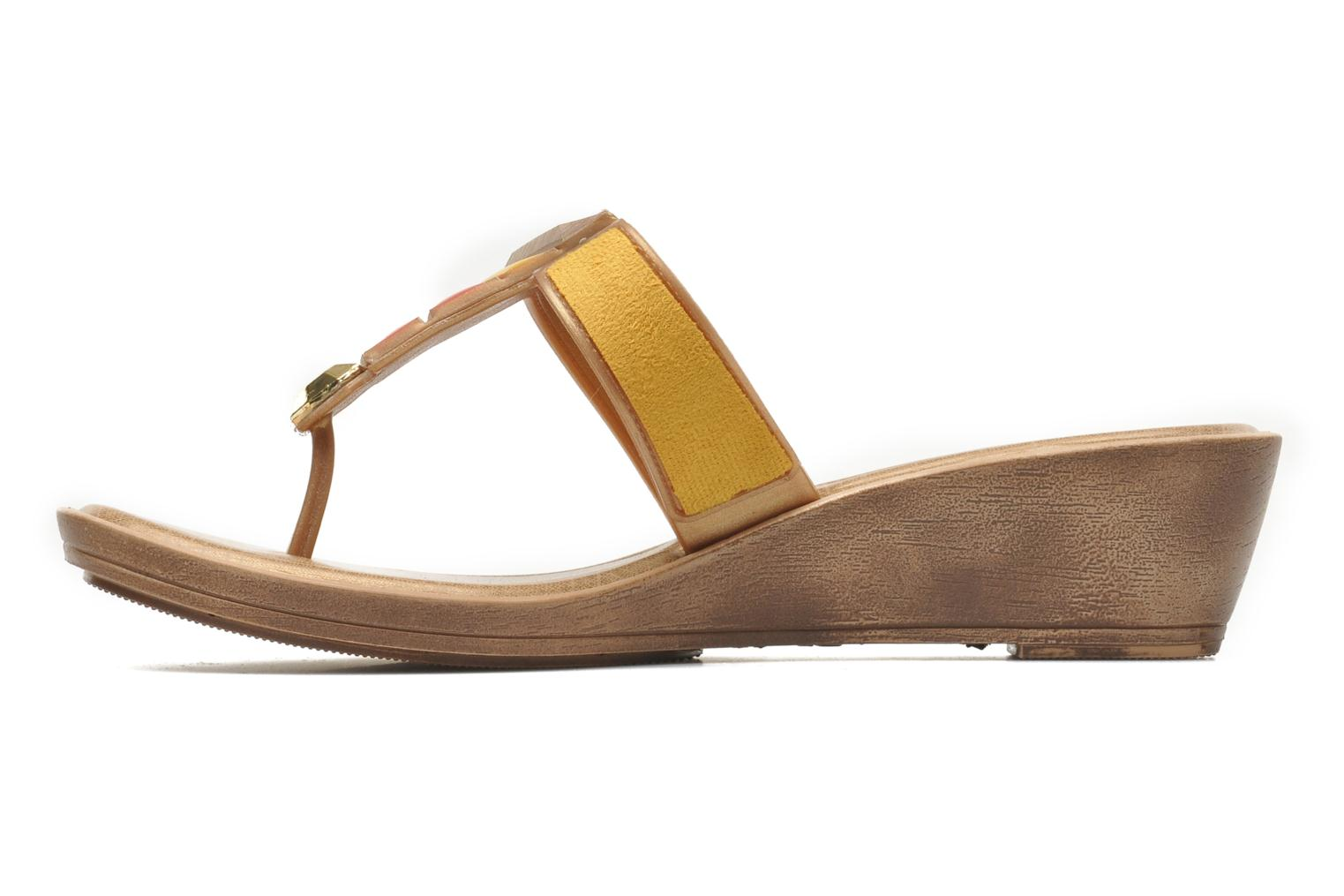 Flip flops Grendha Tesouros Wedge Yellow front view