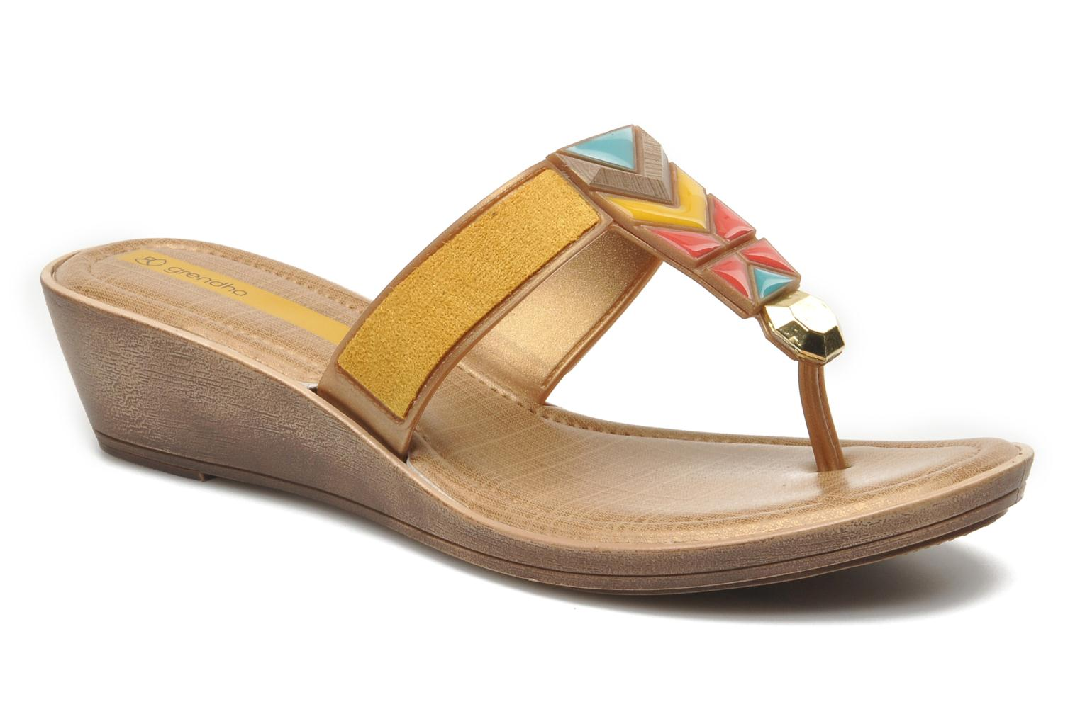 Flip flops Grendha Tesouros Wedge Yellow detailed view/ Pair view