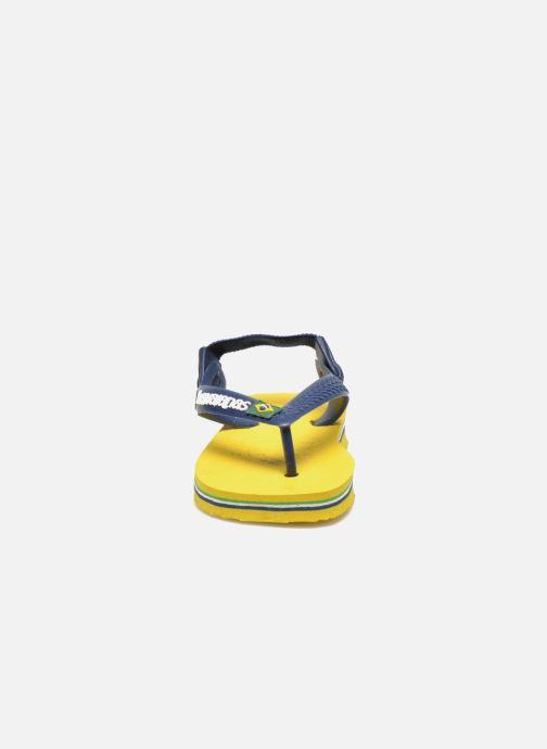 Tongs Havaianas Baby Brazil Logo Jaune vue portées chaussures