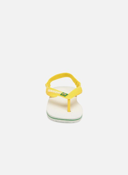 Zehensandalen Havaianas Baby Brazil Logo weiß schuhe getragen