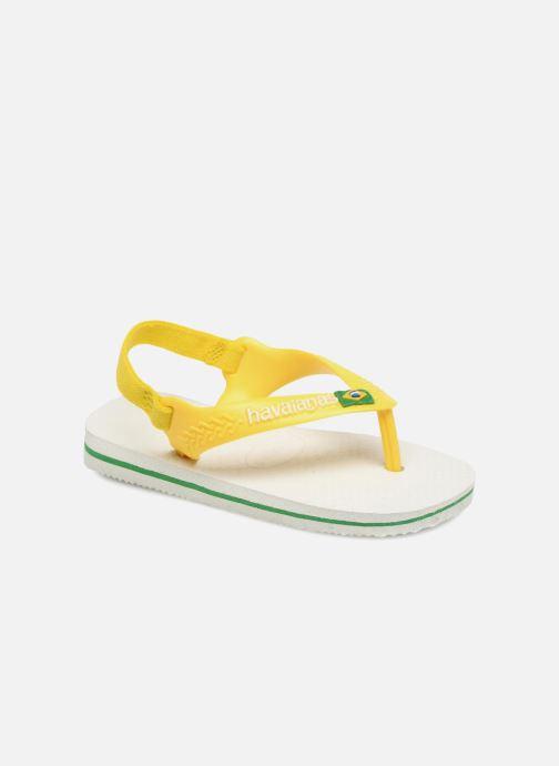 Tongs Havaianas Baby Brazil Logo Blanc vue détail/paire