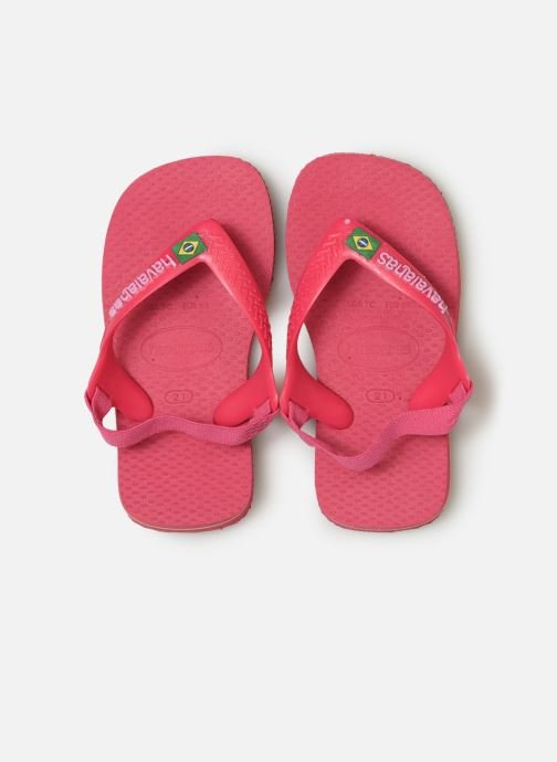 Tongs Havaianas Baby Brazil Logo Rose vue portées chaussures