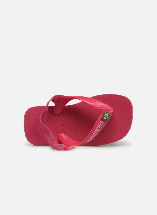 Zehensandalen Havaianas Baby Brazil Logo rosa ansicht von links
