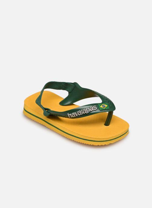 Flip flops & klipklapper Havaianas Baby Brazil Logo Gul se skoene på