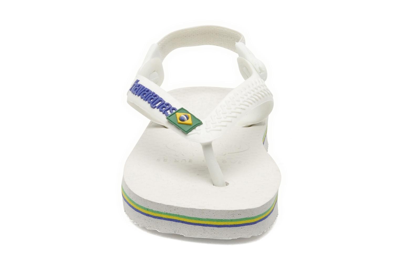 Tongs Havaianas Baby Brazil Logo Blanc vue portées chaussures