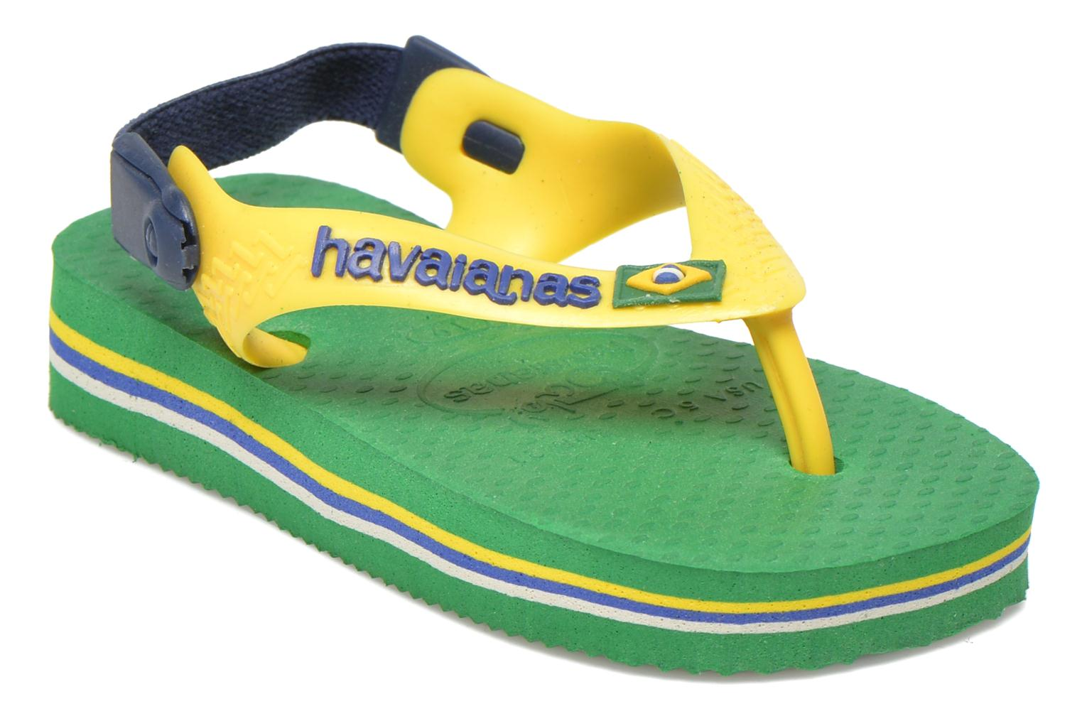 Flip flops Havaianas Baby Brazil Logo Green detailed view/ Pair view
