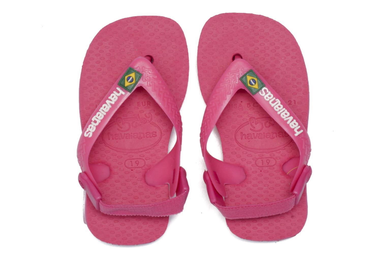 Chanclas Havaianas Baby Brazil Logo Rosa vista 3/4